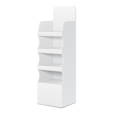 product display: Two Side White POS POI Cardboard Floor Display Rack For Supermarket Blank Empty Displays With Shelves Products On White Background Isolated. Illustration