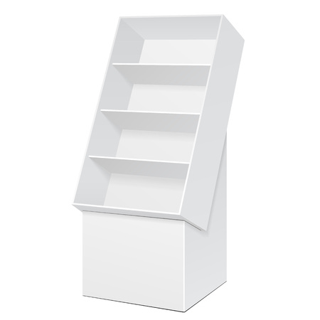 poi: White POS POI Cardboard Floor Display Rack For Supermarket Blank Empty Displays With Shelves Products On White Background Isolated.
