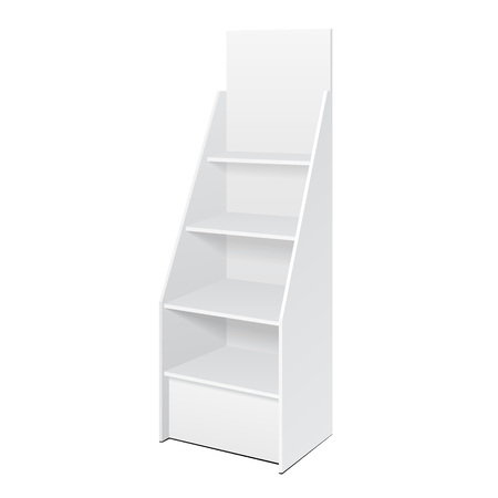 White POS POI Cardboard Floor Display Rack For Supermarket Blank Empty Displays With Shelves Products On White Background Isolated.