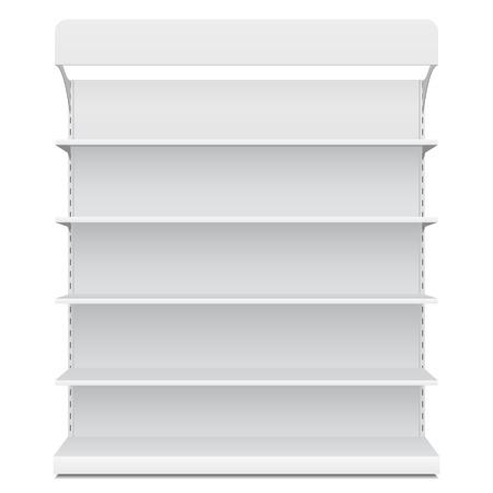 Muestra en blanco blanca larga Escaparate vacío con la opinión Estantes comerciales delanteros productos 3D sobre fondo blanco aislado.