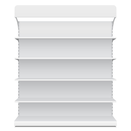 White Long Blank Empty Showcase Displays With Retail Shelves Front View 3D Products On White Background Isolated.