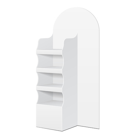 White POS POI Cardboard Floor Display Rack For Supermarket Blank Empty Displays With Shelves Products On White Background Isolated.  Illustration