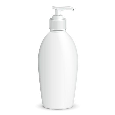 dispenser: Gel, Foam Or Liquid Soap Dispenser Pump Plastic Bottle White.  Illustration