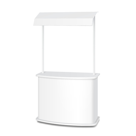 poi: White POS POI Blank Empty Retail Stand Stall Bar Display With Roof, Canopy.