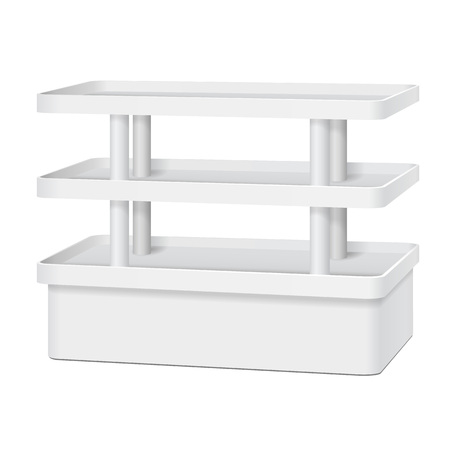 display: White Blank Empty Showcase Display Stand With Retail Shelves.  Illustration