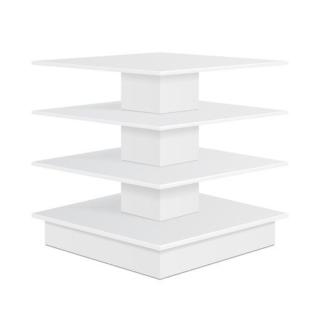 displays: White Square POS POI Cardboard Floor Display Rack For Supermarket Blank Empty Displays With Shelves Products On White Background Isolated.