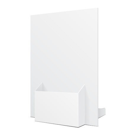 White POS POI Cardboard Blank Empty Show Box Holder For Advertising Fliers, Leaflets Or Products On White Background Isolated.