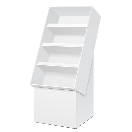 displays: White POS POI Cardboard Floor Display Rack For Supermarket Blank Empty Displays With Shelves Products On White Background Isolated. Ready For Your Design. Product Packing.  Stock Photo