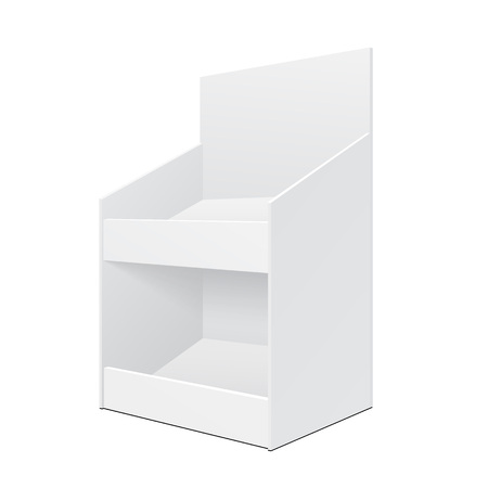 display: White Display Holder Box Stand POS POI Cardboard Blank Empty. Products On White Background Isolated. Ready For Your Design. Mockup Product Packing.