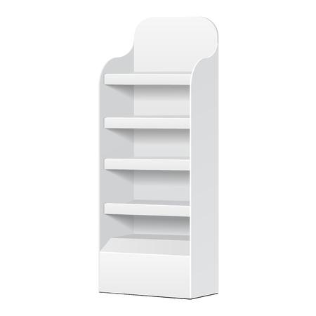 Bianco POS POI Cartone piano Espositore per Supermercato vuote Espositori vuoti con le mensole prodotti su sfondo bianco isolato. Pronto per la progettazione. Imballaggio del prodotto.