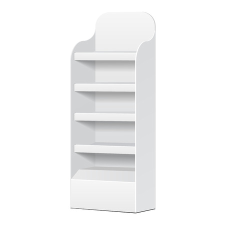 shop display: White POS POI Cardboard Floor Display Rack For Supermarket Blank Empty Displays With Shelves Products On White Background Isolated. Ready For Your Design. Product Packing.  Illustration