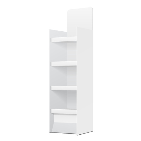 White POS POI kartonnen vloer Display Rack voor supermarkt lege lege Displays met planken producten op geïsoleerde witte achtergrond. Klaar voor uw ontwerp. Product Verpakking.