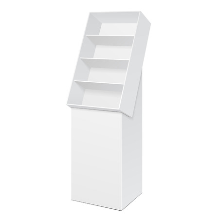 White POS POI Cardboard Floor Display Rack For Supermarket Blank Empty Displays With Shelves Products On White Background Isolated. Ready For Your Design. Product Packing.
