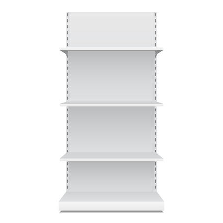 White Blank Empty Showcase Displays With Retail Shelves Front View 3D Products On White Background Isolated. Ready For Your Design. Product Packing.