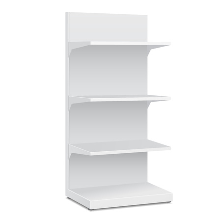 displays: White Blank Empty Showcase Displays With Retail Shelves Products On White Background Isolated. Ready For Your Design. Product Packing. Illustration