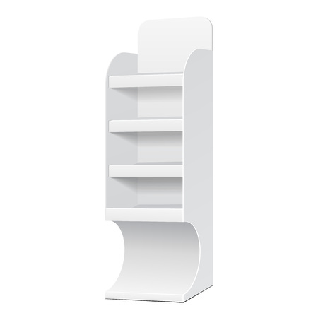 single shelf: White POS POI Cardboard Blank Empty Displays With Shelves Products On White Background Isolated. Ready For Your Design. Product Packing.  Illustration