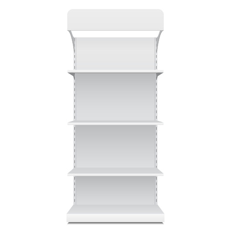 White Blank Empty Showcase Displays With Retail Shelves Front View 3D Products On White Background Isolated. Ready For Your Design. Product Packing.  Illustration