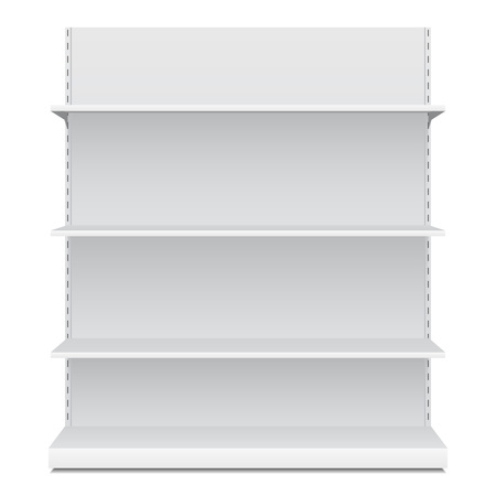 displays: White Blank Empty Showcase Displays With Retail Shelves Front View 3D Products On White Background Isolated. Ready For Your Design. Product Packing. Illustration