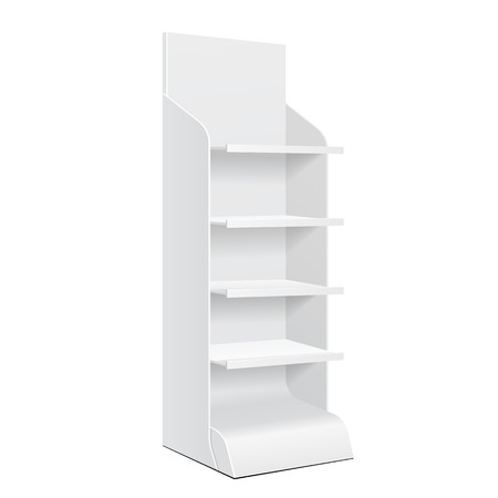 store display: White POS POI Cardboard Floor Display Rack For Supermarket Blank Empty Displays With Shelves Products On White Background Isolated. Ready For Your Design. Product Packing.