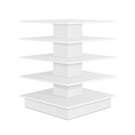 product display: White Square POS POI Cardboard Floor Display Rack For Supermarket Blank Empty Displays With Shelves Products On White Background Isolated. Ready For Your Design. Product Packing. Illustration