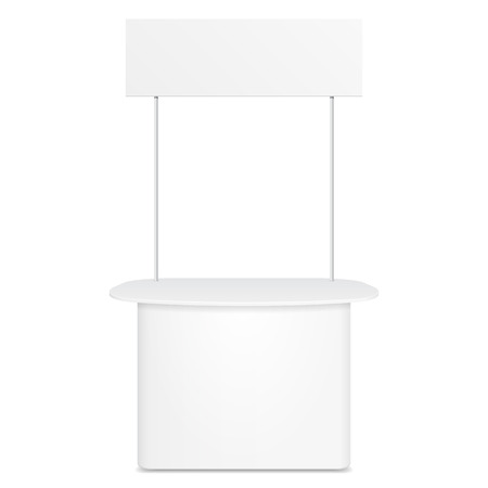 product display: White POS POI Blank Empty Retail Stand Stall Bar Display With Banner. On White Background Isolated. Mock Up Template Ready For Your Design. Product Packing Illustration