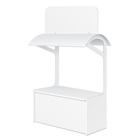 retail display: White POS POI Blank Empty Retail Stand Stall Bar Display With Roof, Canopy, Banner. On White Background Isolated. Mock Up Template Ready For Your Design. Product Packing Illustration