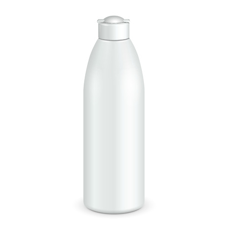 Cosmetic, Hygiene, Medical Grayscale White Plastic Bottle Of Gel, Liquid Soap, Lotion, Cream, Shampoo. Ready For Your Design. Illustration Isolated On White Background.