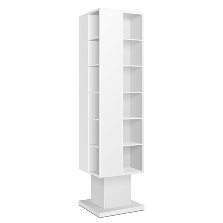 display: White Blank Quadrilateral Empty Showcase Displays With Retail Shelves Products On White Background Isolated. Ready For Your Design. Product Packing.