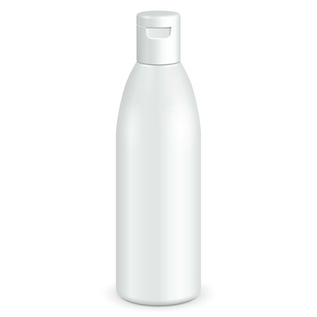 for design: Cosmetic, Hygiene, Medical Grayscale White Plastic Bottle Of Gel, Liquid Soap, Lotion, Cream, Shampoo. Ready For Your Design. Illustration Isolated On White Background.