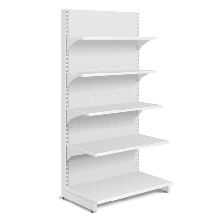White Blank Empty Showcase Displays With Retail Shelves Products On White Background Isolated. Ready For Your Design. Product Packing. Illustration