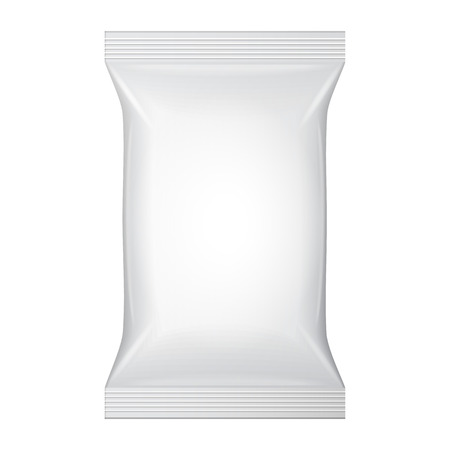 white blank: White Blank Foil Food Snack Sachet Bag Packaging For Coffee, Salt, Sugar, Pepper, Spices, Sachet, Sweets, Chips, Cookies Or Candy. Plastic Pack Template Ready For Your Design.