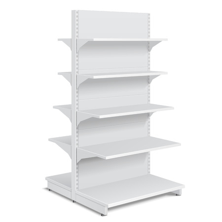 product display: White Blank Empty Showcase Displays With Retail Shelves Products On White Background Isolated. Ready For Your Design. Product Packing. Illustration