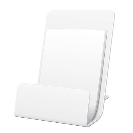 poi: White Filled POS POI Cardboard Blank Empty Show Box Holder For Advertising Fliers, Leaflets Or Products On White Background Isolated. Ready For Your Design. Product Packing.
