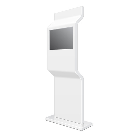 poi: Outdoor POS POI City Light Box Advertising Stand Banner Shield Display, Advertising. Illustration Isolated On White Background.
