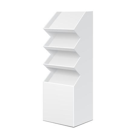 Blanco POS PDI cartón y el suelo estante de exhibición para el supermercado Muestra vacía en blanco con estantes de los productos sobre fondo blanco aislado. Listo para su diseño. Embalaje del producto.