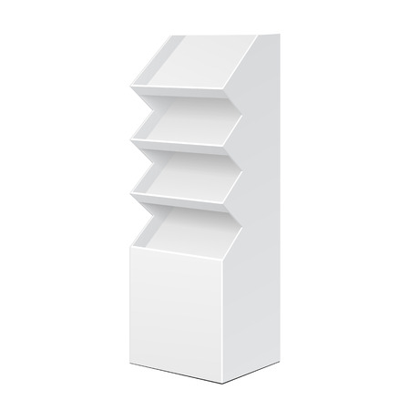 display stand: White POS POI Cardboard Floor Display Rack For Supermarket Blank Empty Displays With Shelves Products On White Background Isolated. Ready For Your Design. Product Packing.