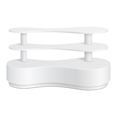 poi: White Rounded POS POI Plastic Metaball Floor Display Rack For Supermarket Blank Empty Displays With Shelves Products On White Background Isolated. Ready For Your Design. Product Packing.