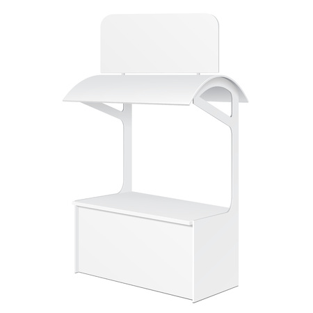 retail display: White POS POI Blank Empty Retail Stand Stall Bar Display With Roof, Canopy. On White Background Isolated. Mock Up Template Ready For Your Design. Product Packing Vector