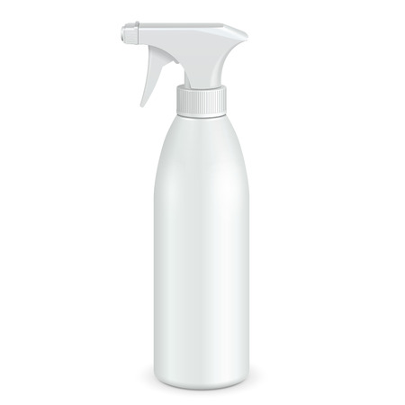 Spray Pistol Cleaner Plastic Bottle White. Illustration Isolated On White Background. Ready For Your Design. Product Packing. Vector Vettoriali