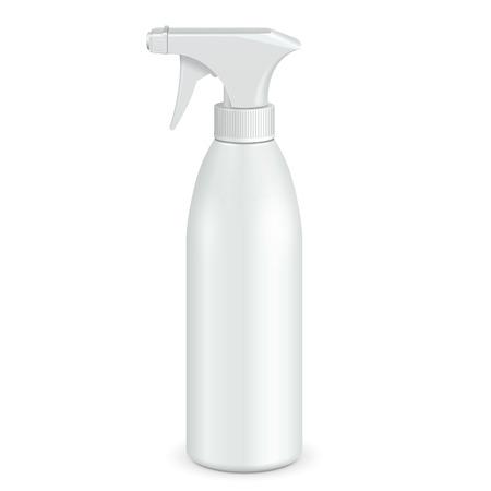 Spray Pistola Cleaner bottiglia di plastica bianca. Illustrazione isolato su sfondo bianco. Pronto per la progettazione. Imballaggio del prodotto. Vettore