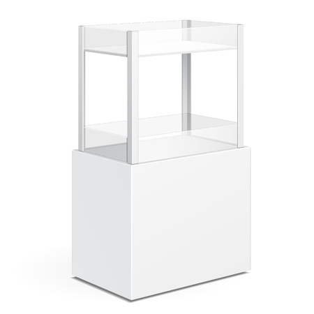 displays: White Square POS POI Cardboard Floor Display Rack For Supermarket Blank Empty Displays With Shelves Products On White Background Isolated. Ready For Your Design. Product Packing. Vector