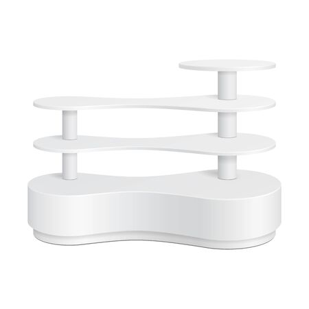 product display: White Rounded POS POI Plastic Metaball Floor Display Rack For Supermarket Blank Empty Displays With Shelves Products On White Background Isolated. Ready For Your Design. Product Packing. Vector