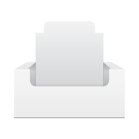 product display: White Display Holder Box POS POI Cardboard Blank Empty, Front View. Products On White Background Isolated. Ready For Your Design. Mockup Product Packing. Vector EPS10 Illustration