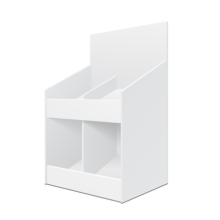 poi: White Display Holder Box Stand POS POI Cardboard Blank Empty. Products On White Background Isolated. Ready For Your Design. Mockup Product Packing. Vector EPS10
