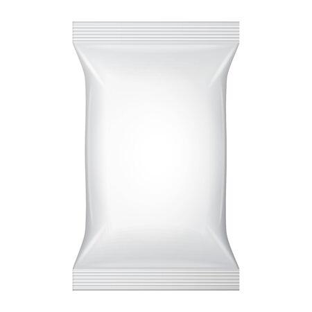 desinfectante: Empaquetado en blanco blanco Wet Wipes Bolsa. Higiene, limpieza, desinfectante, antibacteriana. Paquete de Plantilla de plástico listo para su diseño. Vector Vectores