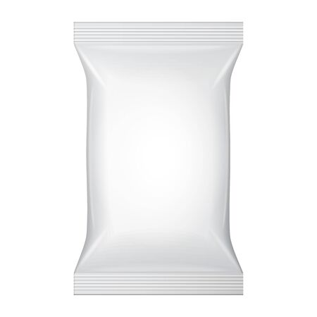 antibacterial: White Blank Wet Wipes Bag Packaging. Hygiene, Cleanliness, Disinfectant, Antibacterial. Plastic Pack Template Ready For Your Design. Vector