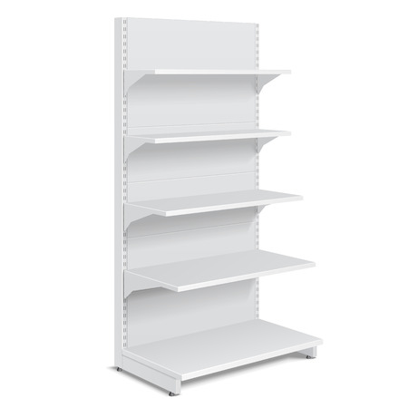 displays: White Blank Empty Showcase Displays With Retail Shelves Products On White Background Isolated. Ready For Your Design. Product Packing. Vector