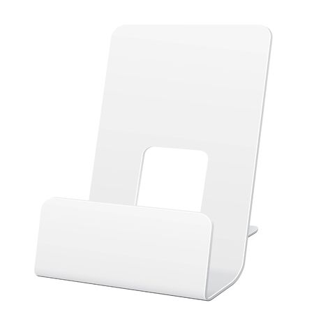 leaflets: White POS POI Cardboard Blank Empty Show Box Holder For Advertising Fliers, Leaflets Or Products On White Background Isolated. Ready For Your Design. Product Packing. Vector