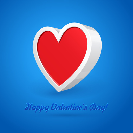 postcard background: White 3D Plastic Heart Abstract Banner, Postcard, Greeting Card, Box On Blue Background. Valentines Day Illustration Postcard. Vector