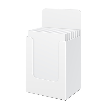 product display: White Display Holder Box POS POI Cardboard Blank Filled. Products On White Background Isolated. Ready For Your Design. Mockup Product Packing. Vector EPS10 Illustration